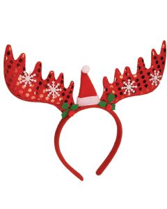 Holiday Themed Rudolph The Reindeer Headband, White Red, One-Size