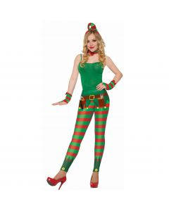 Forum Novelties Holiday Christmas Toy Maker Elf Leggings, Red Green, One-Size