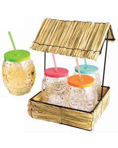 """Hawaiian Straw Tiki Hut Luau Party Set w Glasses, 12"""", Tan Multi"""