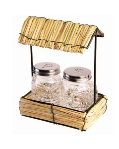 "Straw Hut With Salt/Pepper Shakers 3pc 6.5"" Dinnerware Set, Tan Clear"