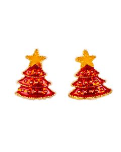 Christmas Season Festive Decorated Tree Accessory Earrings, Red Yellow, 1""