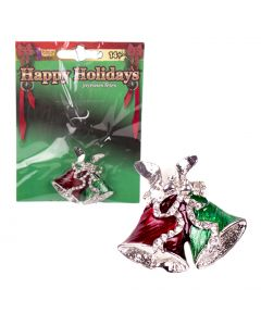 """Christmas Season Holiday Themed Bells Brooch Costume Accessory, Red Green, 3"""""""
