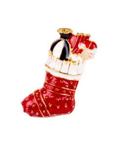 """Christmas Season Holiday Themed Stocking Brooch Costume Accessory, White Red, 3"""""""