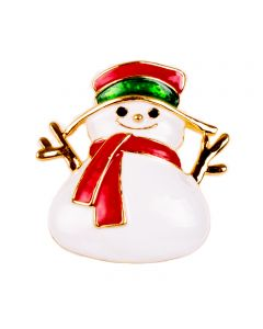 """Christmas Season Holiday Themed Snowman Brooch Costume Accessory, White Red, 3"""""""