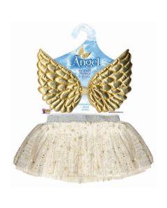 Infant Girls Christmas Angel 2pc Wings & Tutu Skirt, Cream Gold, One-Size