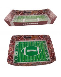 """Forum Football Game Day Sunday 2pc 12'x9.5""""x2"""" Paper Serving Trays, Brown Green"""