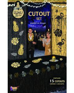 "Forum Luau Luxe Hawaiian Decoration 8"" Cutouts, Gold Black Silver, 15 Pack"