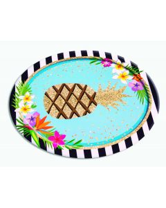 "Forum Luau Glitter Pineapple 12"" Serving Platter, Gold Blue, 8 Pack"
