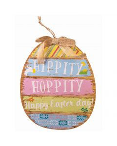 "Forum ""Hippity Hoppity"" Easter Plaque 13.5"" Wall Decoration, Blue Pink Yellow"