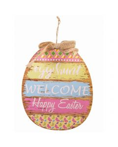 "Forum ""Egg Hunt Welcome"" Easter Plaque 13.5"" Wall Decoration, Blue Pink Yellow"