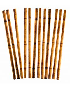 "Forum Summer Luau Bamboo Printed 12"" Paper Straws, Brown, 12 Pack"