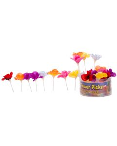 "Forum Hawaiian Luau Flower Floral Summer 3"" Cocktail Drink Picks, Multi, 24 Pack"