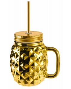 Forum Luau Luxe Glass Pineapple Mason Jar With Lid 16oz Party Cup, Gold