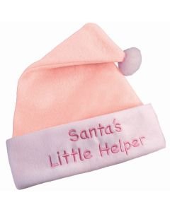 Girls Santa's Little Helper First Christmas Hat, Pink White, One-Size 5.5""
