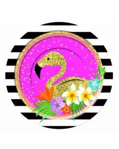 "Luau Flamingo Hawaiian Themed Summer 7"" Dessert Plates, Gold Blue Pink, 8 Pack"