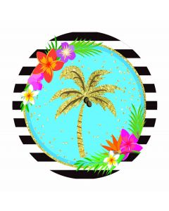 """Luau Palm Tree Hawaiian Themed Summer 9"""" Lunch Plates, Gold Blue Pink, 8 Pack"""