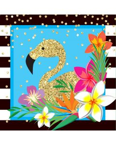 "Luau Flamingo Hawaiian Themed 13"" Luncheon Napkins, Gold Blue Pink, 16 Pack"