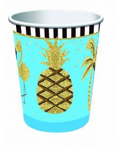 Forum Luau Hawaiian Themed Summer 9oz Paper Cups, Gold Blue, 8 Pack