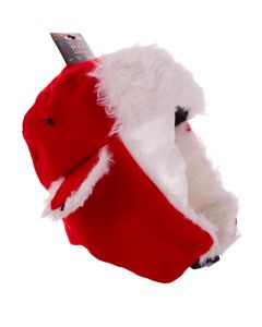 Santa Lumberjack Faux Fur Quality Warm Christmas Hat, White Red, Adult 7.25