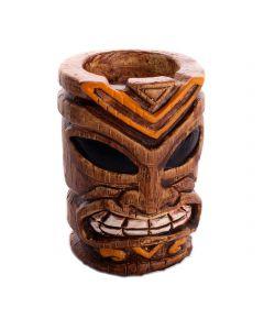 "Festive Tiki-Style Luau fun 3.5"" Candle Holder, Brown Black Orange"
