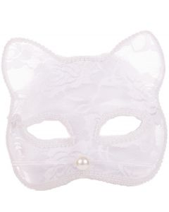 Forum Halloween Miss Whiskers Sexy Lace Half Mask, White, One-Size