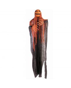 "Forum Pumpkin Jack O' Lantern Light & Sound 60"" Hanging Decoration, Orange Black"
