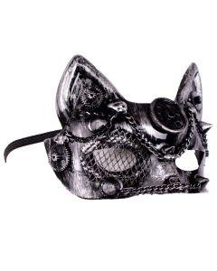Forum Halloween Steampunk Cat Gears Half Mask, Silver Black, One-Size