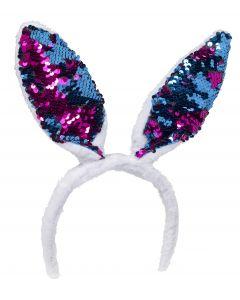 Magic Flip Sequin Plush Bunny Ears Headband, One-Size, White Purple Blue