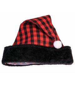 "Festive Christmas Buffalo Plaid Cabin Santa Costume Hat, Black Red, One-Size 7"""