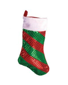 "Sequin Dot Striped Faux Fur 17"" Christmas Stocking, Red Green White"