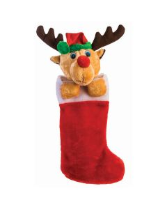 "Cute Kids Plush Reindeer Holiday Decoration 22"" Christmas Stocking, Red Brown"
