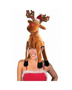 Festive Reindeer Rudolph Christmas Party Costume Hat, Brown Red, One-Size 7""