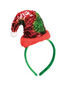 Flip Sequin Mini Santa Hat Christmas Headband, Red Green, One-Size