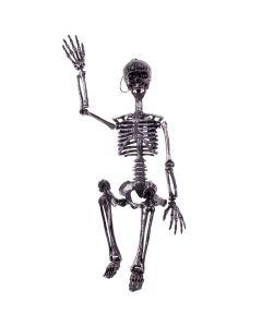 "Forum Halloween Hanging Adjustable Skeleton 36"" Decoration Prop, Silver Black"