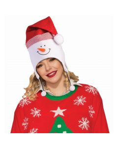 Snowman With Santa Hat Pom Poms Party Hat, White Red, One-Size 6.7""