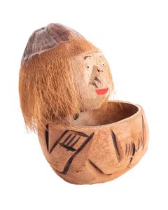 "Hawaiian Carved Coconut Monkey Man with Bowl 8"" Table Decoration, Brown"