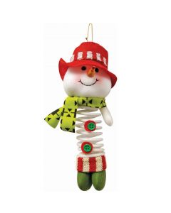"""Hanging Snowman Decor With Spring Body 6.5"""" Christmas Tree, White Red Green"""
