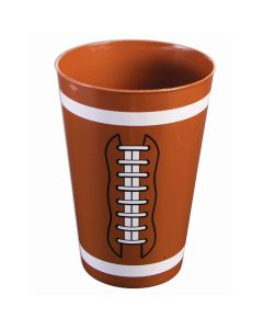 Football Party Hard Plastic Reusable 18 OZ. Party Cup, Brown White