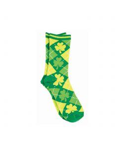 Argyle Pattern Shamrocks St Patrick's Day Socks, Green, One-Size