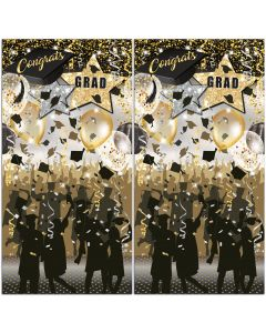 Congrats Grad Graduation Panels 5' Photo Booth Backdrop, Gold Black, 2 Pack