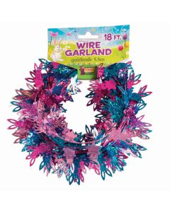 Forum Seasonal Easter Holographic Bunny 18' Wire Garland, Pink Blue Purple