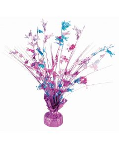 """Easter Holographic Bunny Balloon Weight 15"""" Table Centerpiece, Pink Blue Purple"""