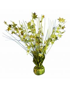 "SKD Holographic Stars 9oz Balloon Weight Decoration 15"" Spray Centerpiece, Gold"