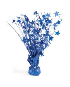 """Holographic Stars 9oz Balloon Weight 15"""" Spray Table Centerpiece, Royal Blue"""