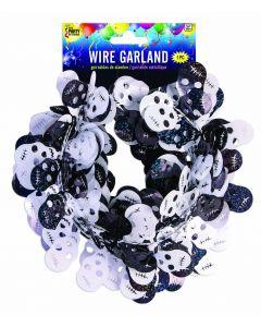 Forum Skulls Skeleton Halloween Decoration 18 FT Wire Garland, Black White