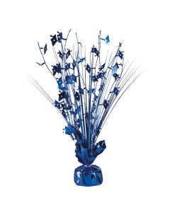 "SKD Holographic Grad Cap 9oz Balloon Weight 15"" Spray Centerpiece, Royal Blue"