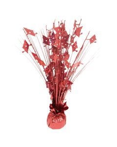 "SKD Holographic Grad Cap 9oz Balloon Weight 15"" Spray Centerpiece, Red"