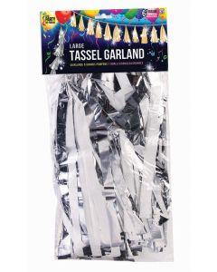 "SKD Graduation Large Balloon 12"" by 6' Tassel Garland, Metallic Silver White"