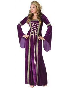 Deluxe Renaissance Lady of the Court Adult Costume, Medium/Large 10-14, Purple