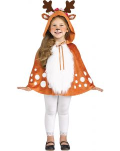 Fun World Winter Deer Holiday Christmas Hooded Cape, Toddler 1-3T, Brown White